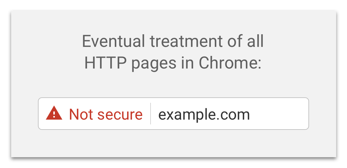 Eventually Chrome plan to label all HTTP pages as non-secure, and change the HTTP security indicator to the red triangle that they use for broken HTTPS.